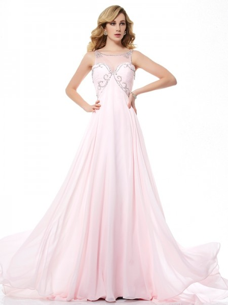 A-Line/Princess Scoop Sleeveless Chiffon Sweep/Brush Train Dresses