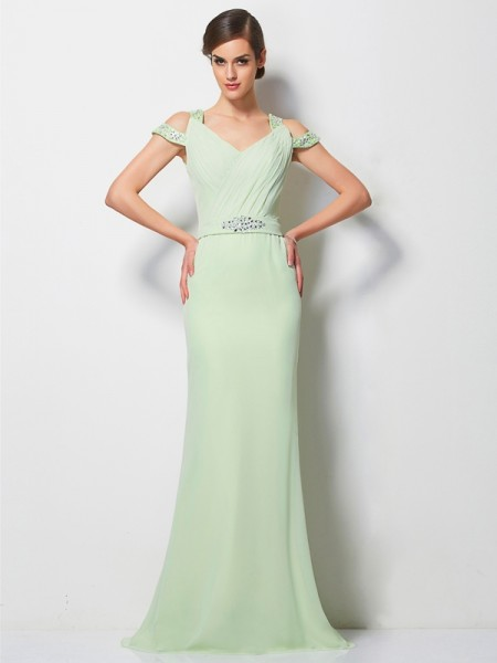 A-Line/Princess Beading V-neck Chiffon Sweep/Brush Train Sleeveless Dresses