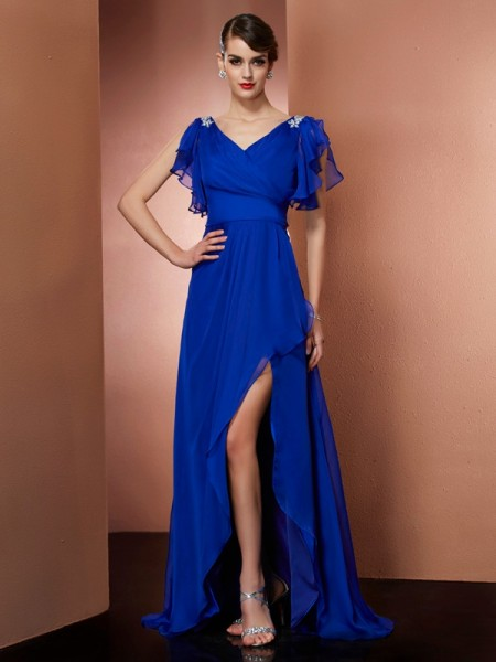 A-Line/Princess Beading V-neck Sleeveless Chiffon Asymmetrical Dresses