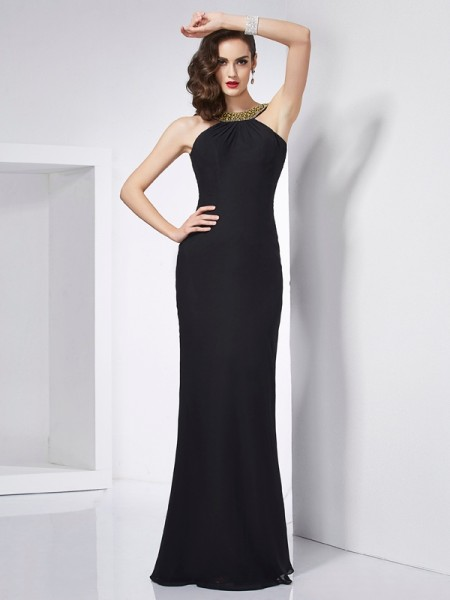 Trumpet/Mermaid Chiffon Jewel Floor-Length Sleeveless Dresses