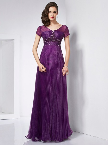 A-Line/Princess V-neck Organza Short Sleeves Beading Floor-Length Dresses
