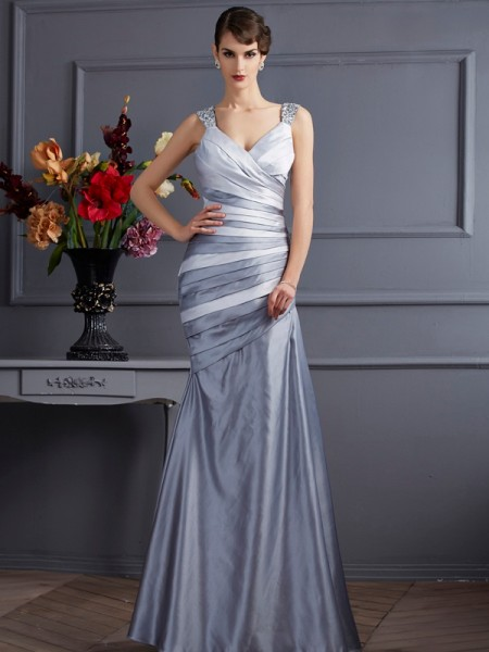 Trumpet/Mermaid Satin Straps Sleeveless Pleats Floor-Length Dresses