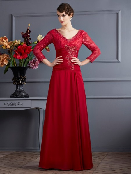 Sheath/Column Chiffon V-neck Lace Floor-Length 3/4 Sleeves Dresses
