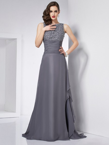 A-Line/Princess Chiffon Jewel Sleeveless Beading Sweep/Brush Train Dresses