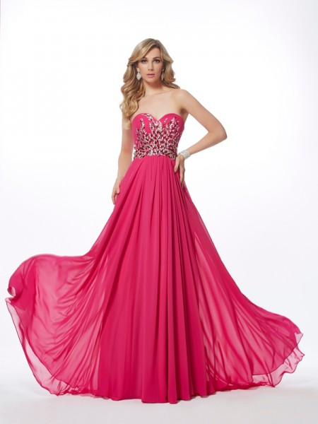 A-Line/Princess Chiffon Sweetheart Sleeveless Sweep/Brush Train Pleats Dresses