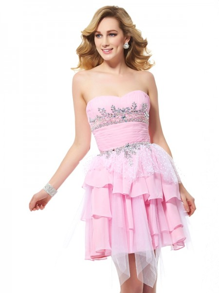 A-Line/Princess Sweetheart Sleeveless Beading Chiffon Short/Mini Dresses