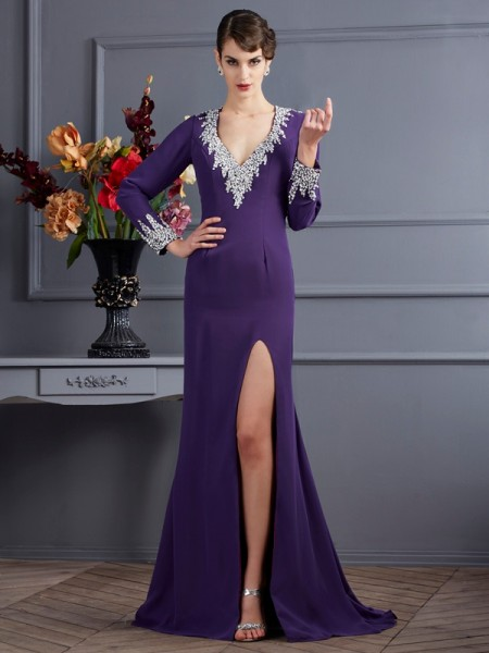 Trumpet/Mermaid V-neck Chiffon Long Sleeves Sweep/Brush Train Beading Dresses