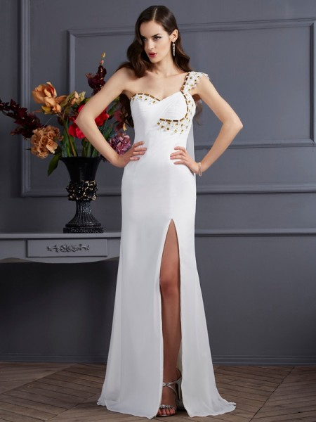 A-Line/Princess One-Shoulder Chiffon Sweep/Brush Train Sleeveless Dresses