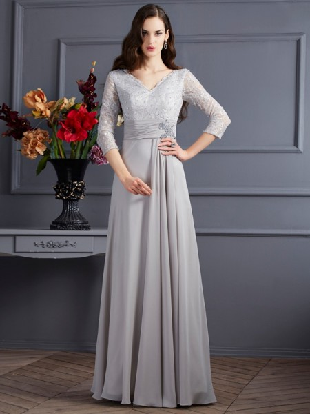 A-Line/Princess Chiffon V-neck 3/4 Sleeves Applique Floor-Length Mother of the Bride Dresses