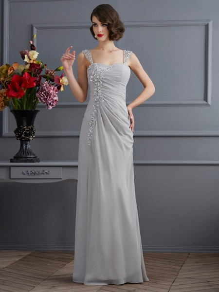 Trumpet/Mermaid Straps Sleeveless Chiffon Floor-Length Dresses