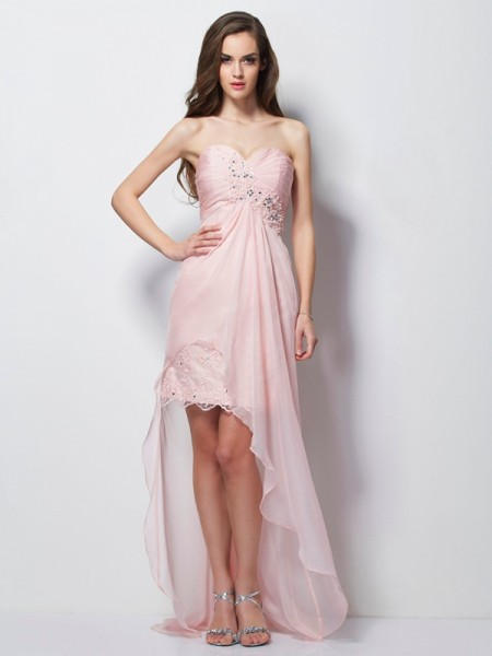 A-Line/Princess Chiffon Beading Sweetheart Sleeveless Asymmetrical Dresses