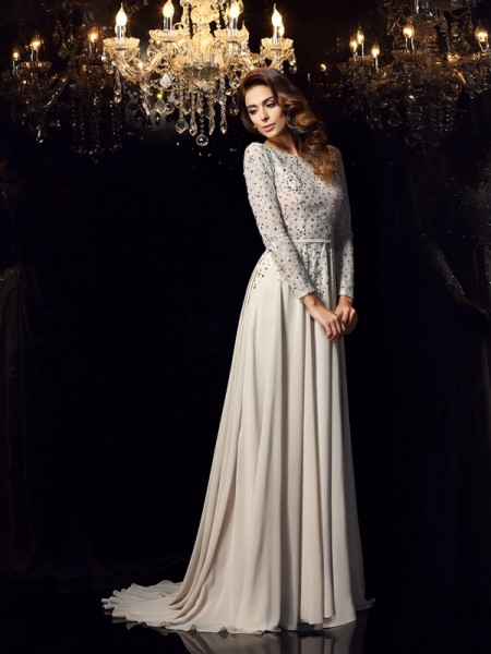 A-Line/Princess Chiffon Scoop Long Sleeves Court Train Beading Dresses