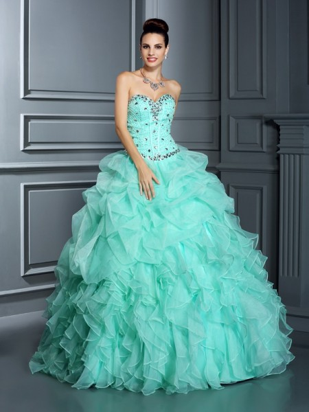 Ball Gown Organza Sweetheart Beading Floor-Length Sleeveless Dresses