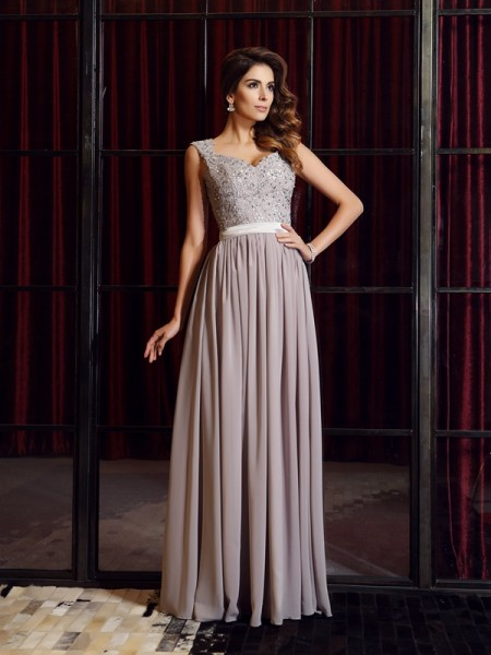 A-Line/Princess Chiffon Straps Sleeveless Floor-Length Applique Dresses