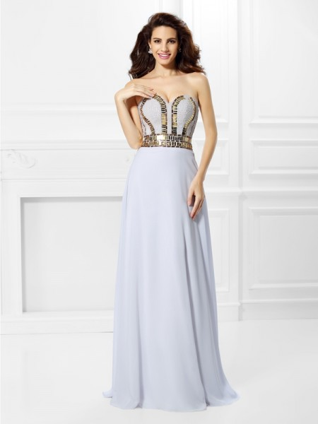 Empire Sweetheart Sleeveless Floor-Length Pleats Chiffon Dresses