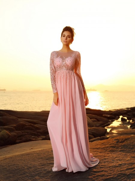 A-Line/Princess Chiffon Bateau Long Sleeves Sweep/Brush Train Dresses