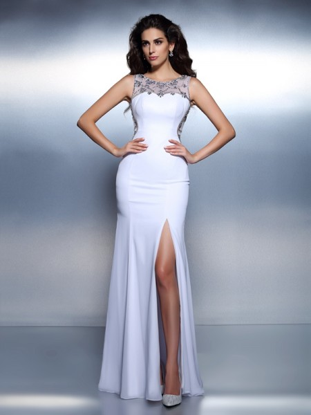Trumpet/Mermaid Chiffon Bateau Sleeveless Floor-Length Dresses
