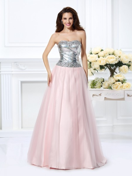 Ball Gown Sweetheart Satin Beading Sleeveless Floor-Length Dresses