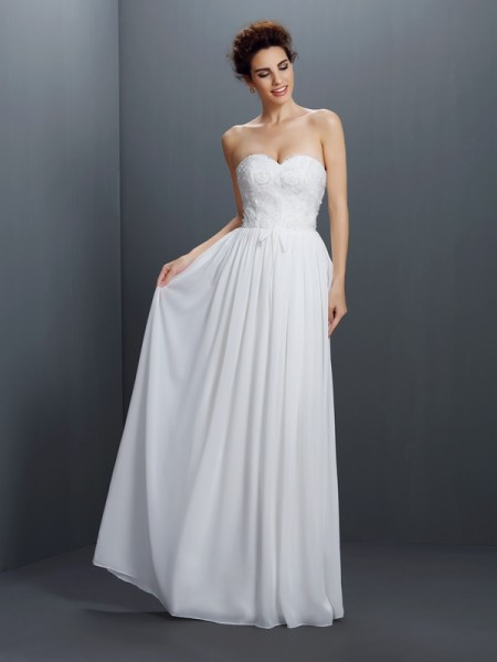 A-Line/Princess Sweetheart Chiffon Lace Sleeveless Floor-Length Dresses