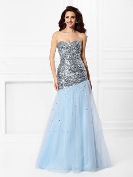 Trumpet/Mermaid Sweetheart Satin Sequin Floor-Length Sleeveless Dresses