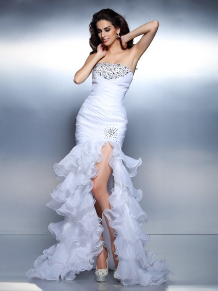Trumpet/Mermaid Organza Beading Strapless Sleeveless Floor-Length Dresses