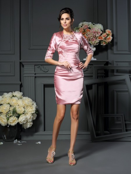 Sheath/Column Elastic Woven Satin Applique Scoop Short/Mini Sleeveless Mother of the Bride Dresses