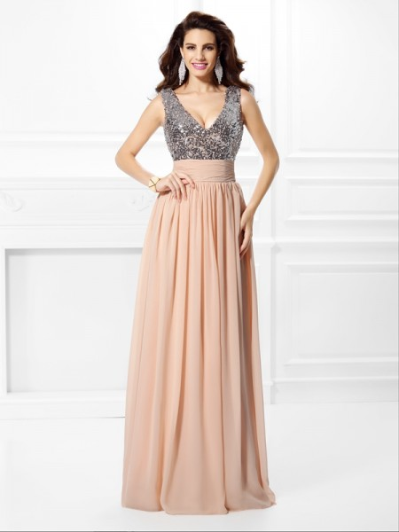 A-Line/Princess Chiffon Paillette V-neck Sleeveless Floor-Length Dresses