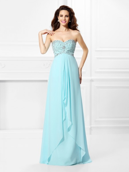 A-Line/Princess Sweetheart Sleeveless Beading Chiffon Floor-Length Dresses