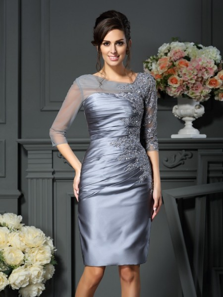 Sheath/Column Satin Scoop 1/2 Sleeves Knee-Length Mother of the Bride Dresses
