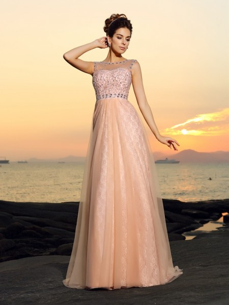 A-Line/Princess Chiffon Bateau Floor-Length Lace Sleeveless Dresses