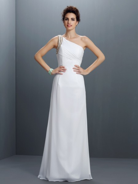 Sheath/Column Chiffon One-Shoulder Sleeveless Beading Floor-Length Dresses