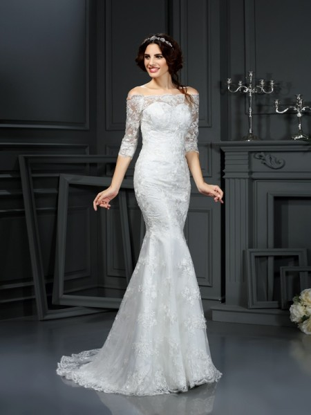 Sheath/Column Off-the-Shoulder Sweep/Brush Train 1/2 Sleeves Lace Wedding Dresses