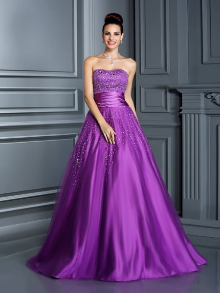 Ball Gown Sweetheart Satin Sleeveless Floor-Length Dresses