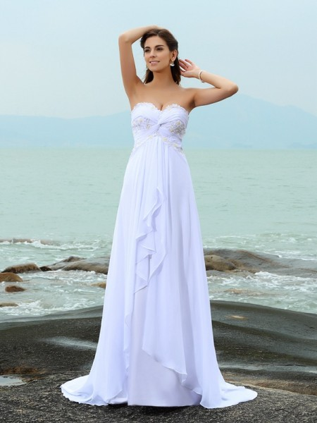 A-Line/Princess Chiffon Sweetheart Sleeveless Sweep/Brush Train Wedding Dresses