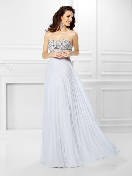 Empire Chiffon Sweetheart Sleeveless Beading Floor-Length Dresses
