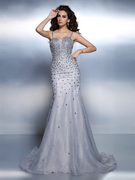 Trumpet/Mermaid Organza Spaghetti Straps Sleeveless Rhinestone Sweep/Brush Train Dresses