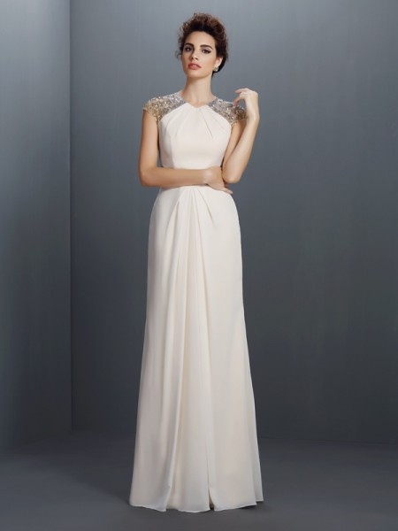 A-Line/Princess Chiffon Jewel Floor-Length Sleeveless Dresses