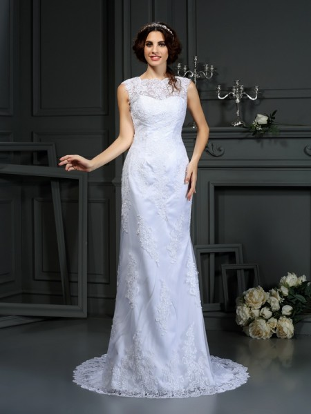 Sheath/Column High Neck Sleeveless Lace Court Train Wedding Dresses