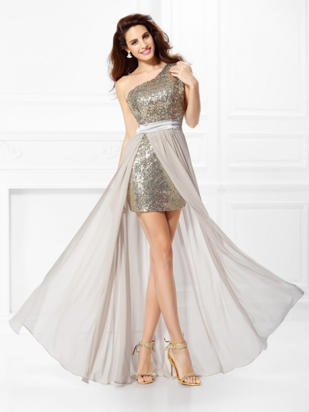 A-Line/Princess Chiffon One-Shoulder Sleeveless Sequin Floor-Length Dresses