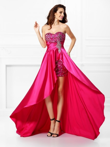 A-Line/Princess Elastic Woven Satin Sweetheart Sleeveless Asymmetrical Beading Dresses
