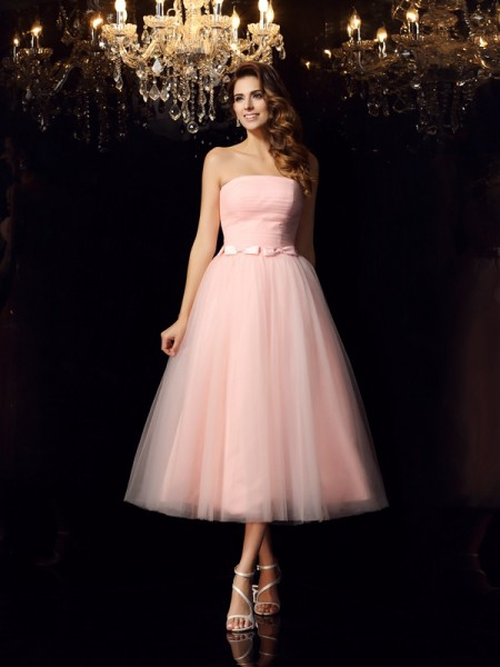 Ball Gown Satin Sash/Ribbon/Belt Strapless Sleeveless Tea-Length Dresses