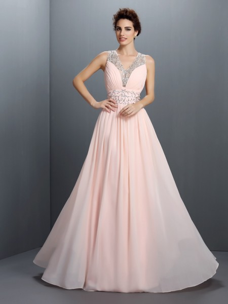 A-Line/Princess Chiffon V-neck Sleeveless Beading Floor-Length Dresses