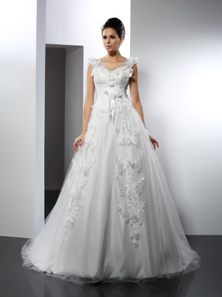 A-Line/Princess Satin Straps Sleeveless Lace Cathedral Train Wedding Dresses