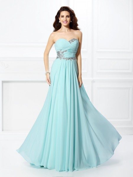 A-Line/Princess Sweetheart Beading Chiffon Floor-Length Sleeveless Dresses