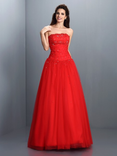 Ball Gown Organza Beading Strapless Sleeveless Floor-Length Dresses