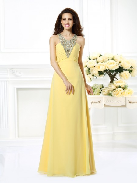 A-Line/Princess Chiffon V-neck Beading Floor-Length Sleeveless Dresses