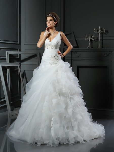 Ball Gown Organza V-neck Sleeveless Ruffles Court Train Wedding Dresses