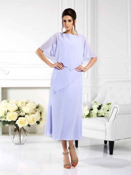 Sheath/Column Chiffon Bateau 1/2 Sleeves Ankle-Length Mother of the Bride Dresses