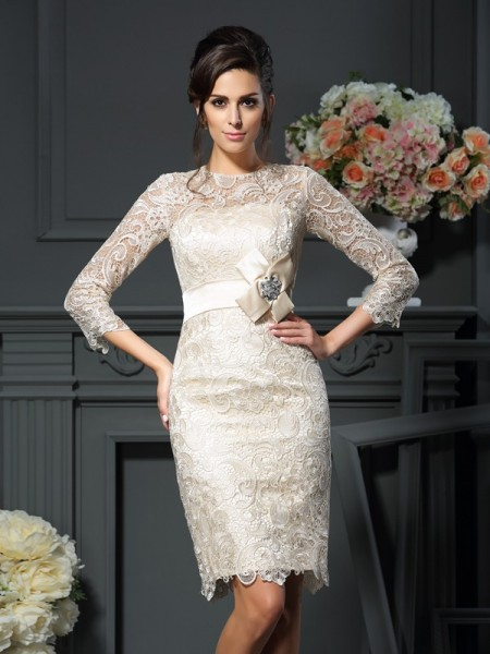 Sheath/Column Lace Scoop 3/4 Sleeves Bowknot Short/Mini Mother of the Bride Dresses