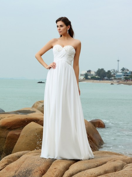 A-Line/Princess Chiffon Sweetheart Sleeveless Sweep/Brush Train Beading Wedding Dresses
